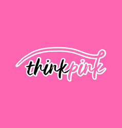 Breast cancer awareness pink ribbon typography vector