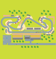 cartoon race track with cars top view vector image