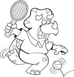 Cartoon triceratops playing tennis vector