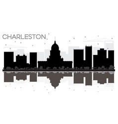 Charleston city skyline black and white vector