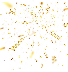 Christmas golden confetti with ribbon falling vector