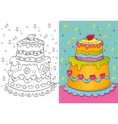 Coloring book of cake with decoration vector