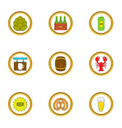 Craft beer icons set cartoon style vector