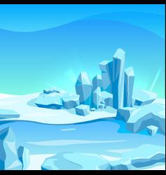 frozen landscape with ice rocks cartoon vector image