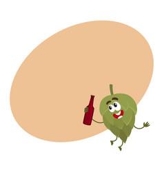 funny smiling beer hop character holding dark beer vector image vector image
