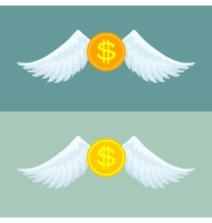 Gold coin with wings vector