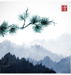 green pine tree branch and blue mountains with vector image