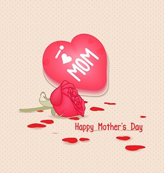 Happy mothers day with heart and flowers vector