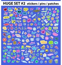 Huge pop art set with fashion patch badges vector
