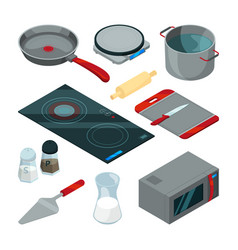 kitchen tools for cooking isometric pictures set vector image vector image
