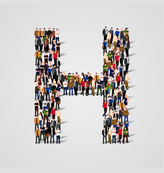 Large group of people in letter h form vector