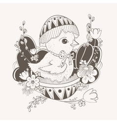 little chicken in Easter egg shell vector image vector image