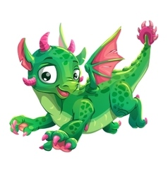 Little cute green flying young dragon vector