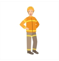 Man Firefighter Part Of Happy People And Their vector image