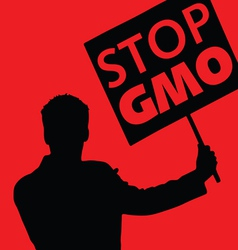 man with the slogan stop gmo vector image