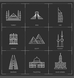 middle east landmarks the collection include vector image vector image