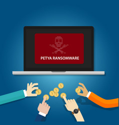 Petya ransomware cyber attack virus computer vector