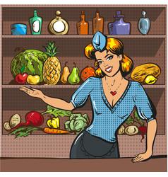 Pop art of woman with fruit vector