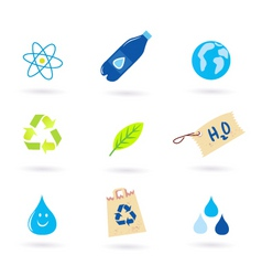 recycle water nature icons vector image vector image