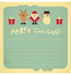 Retro merry christmas card vector