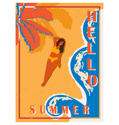retro poster with palm trees sea girl and beach vector image
