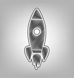 rocket sign pencil sketch vector image