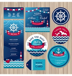Set of marine wedding cards vector