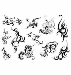 set of tribal floral ornaments vector image vector image