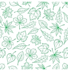 Sketched green leaves seamless pattern background vector image vector image