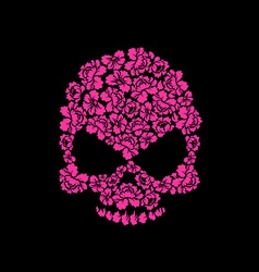 Skull of roses on a black background Flower skull vector image vector image