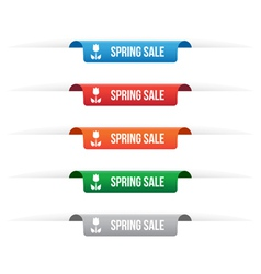 Spring sale paper tag labels vector image