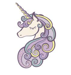 unicorn icon isolated on white vector image vector image