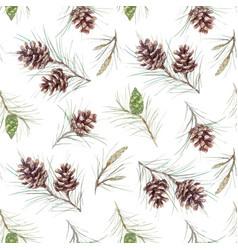 Watercolor fir cone pattern vector