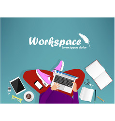 Workplace with man with laptop vector