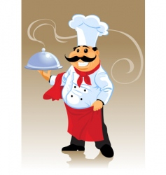 Chef cook and plate vector