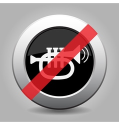 Gray chrome button - no trumpet sound with waves vector
