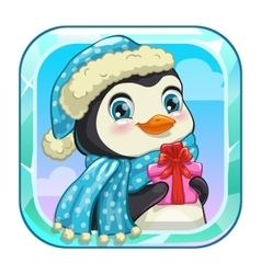 Cartoon app icon with cute penguin vector