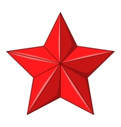Five-pointed red star icon cartoon style vector