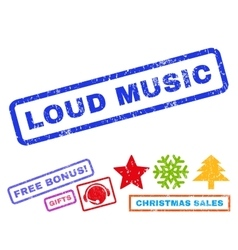 Loud music rubber stamp vector