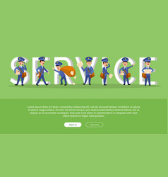 Parcel conceptual web banner with cartoon postman vector