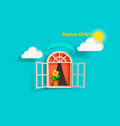 The window with the clouds vector