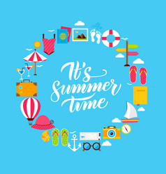 summer flat circle vector image