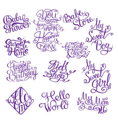 Set for baby shower hand drawn phrases for design vector