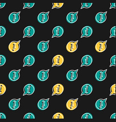 Seamless pattern with info icon on black vector