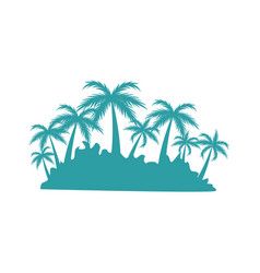 tropical island with tree palm landscape vector image