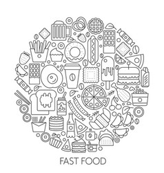 fast food icons in circle - concept line vector image