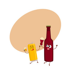 Funny beer bottle and can characters having fun vector