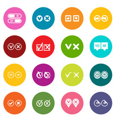 check mark icons many colors set vector image