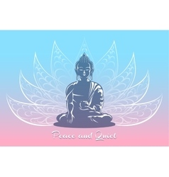 Buddha sitting in lotus pose vector