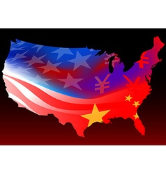 American map with chinese and usa flag vector